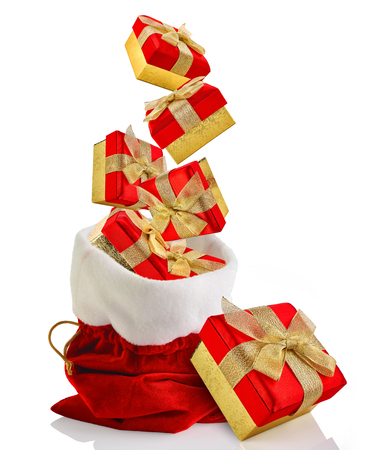 gift bags: Santa sack full with presents Stock Photo