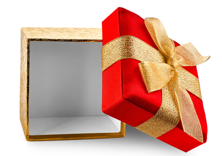 open box: Open gift box, isolated on the white background Stock Photo