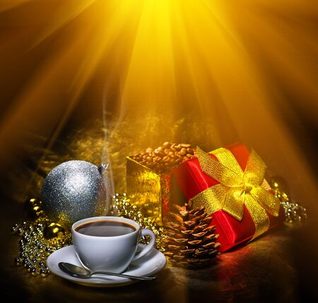 espresso cup: Cup of espresso coffee and Christmas decoration