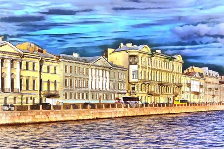 Ancient houses on Fontanka River Embankment in Peterburg Reklamní fotografie