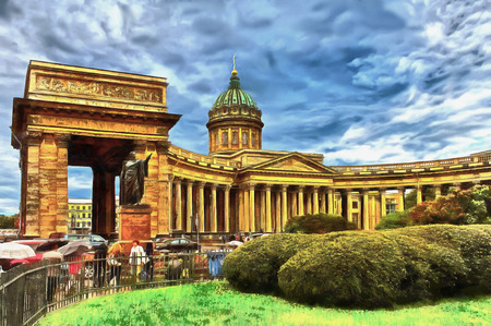 Kazan Cathedral in Saint Petersburg in Russia. Monument to Kutuzov. Dark blue stormy sky. Passersby people with umbrellas. Digital watercolor painting.