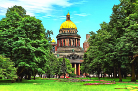 Saint Isaac Cathedral among the lush trees