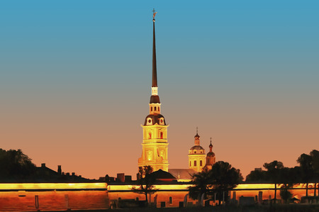 Peter and Paul Fortress on a white night