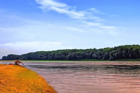 The vastness of the Amur River with picturesque sand and green beaches