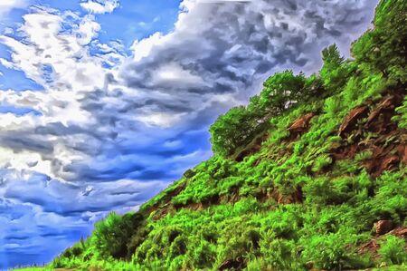 Blue sky with voluminous clouds diagonal of a green mountain Фото со стока