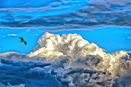 A lone seagull flies in the blue sky against the background of three-dimensional clouds.