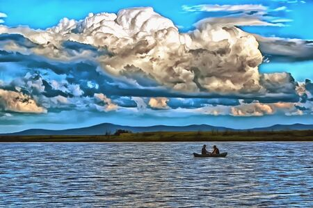 Large volumetric clouds hang over the fishermen in the boat