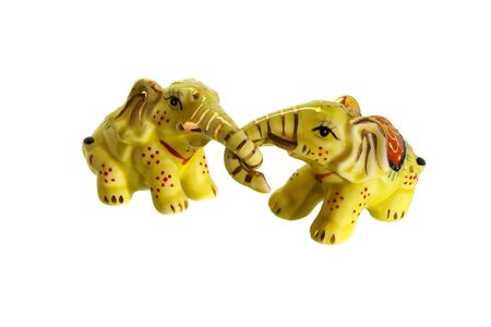Souvenir toy two elephants grappled with trunks