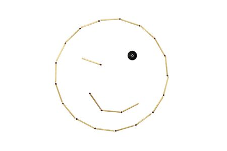 Smiley face amiability is made out of matches