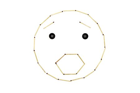 Smiley face surprise is made out of matches Banco de Imagens