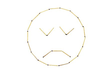 Smiley face Discontent is made out of matches Banco de Imagens