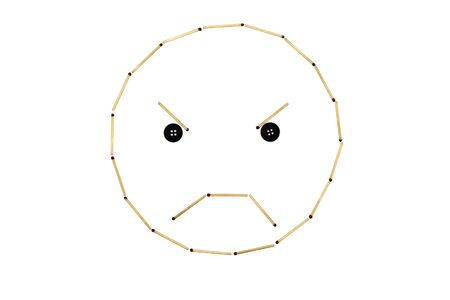 Smiley face Anger is made out of matches