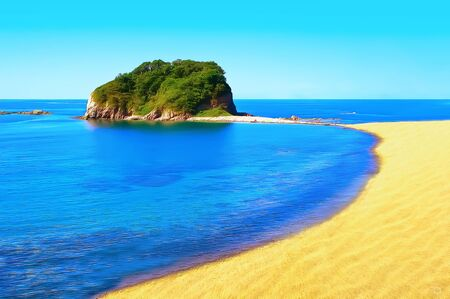 A clear sunny day. Sea beach with fine yellow sand. Bright blue calm sea. A stone island with green vegetation. Pure blue sky. Magnificent tropical landscape. Digital painting.