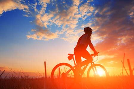 Silhouette of a bike on sky background on sunset Stok Fotoğraf - 45484372
