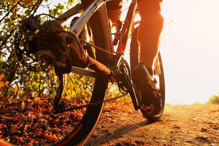 Mountain Bike Radfahrer in Aktion. Low Angle Nahaufnahme. Standard-Bild - 48933919
