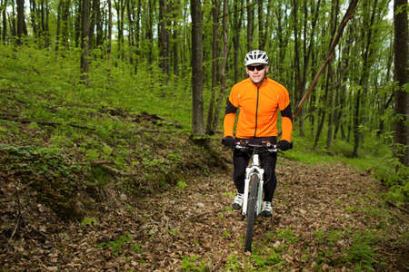 dirt road recreation: Cyclist Riding the Bike on a Trail in Summer Forest. Sport Concept.