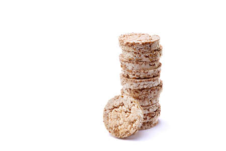 Diet rice puffed cakes pile isolated on white background Banco de Imagens