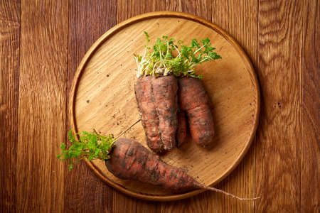 Bundle of carrots with soil on wooden plate over rustic wooden background, side view, close-up, selective focus. Harvesting bunch. Fresh raw carotene. Unpeeled tasty roots. Healthy food background. Stock Photo