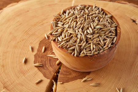 Pile of unpeeled oat grains on wooden background, top view, close-up, macro, selective focus, shallow depth of field. Some copy space. Dietary food. Healthy eating, dieting. Natural nutritious oatmeal. Vegan cuisine. Organic food concept. Stok Fotoğraf