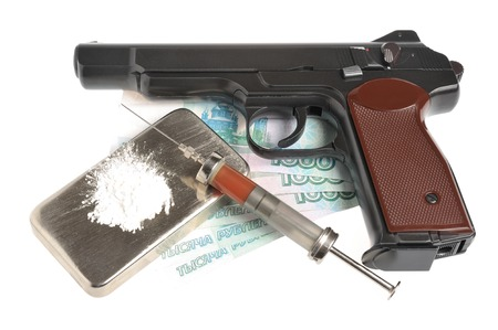 Drugs, syringe with blood, pistol, money isolated photo