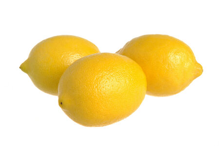 dietology: Three lemons on the white isolated Stock Photo