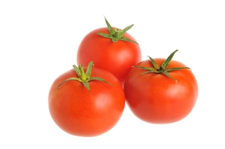 fruition: Three tomatoes isolated on white background Stock Photo