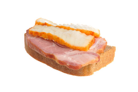 A ham sandwich with lard isolated on white background photo