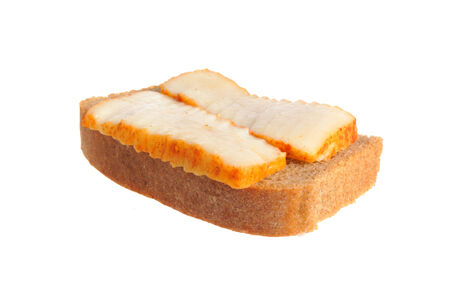 A sandwich with lard isolated on white background photo