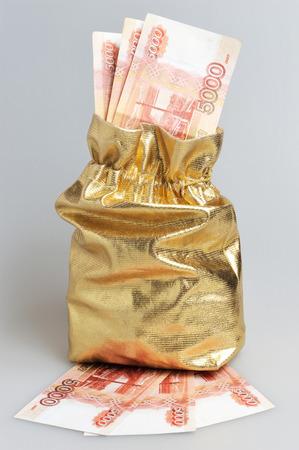 Gold sack full of money on gray background photo