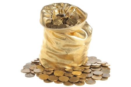 Gold sack full of coins isolated on white background photo