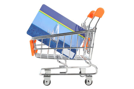 non cash: Shopping cart and credit card within isolated on white background