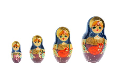 matroshka: Russian matryoshka isolated on white background Stock Photo