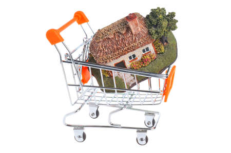 Model of house in the shopping cart isolated on white background photo