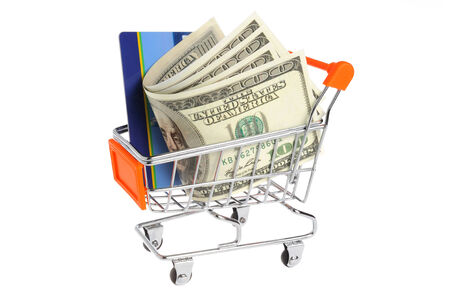 non cash: Money, plastic card in shopping cart isolated on white background