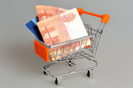 Money, plastic card in shopping cart on gray background