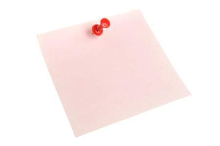 one sheet: One pink paper sheet attached with red office button isolated on white background