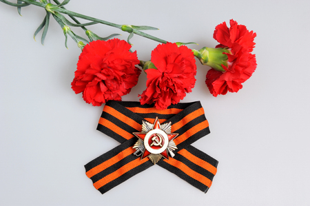 anti fascist: Saint George ribbon with order of the Great Patriotic and red carnations on gray