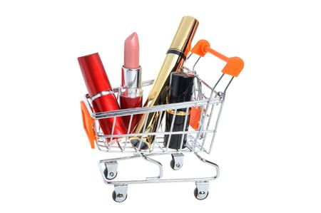 pushcart: Makeup in pushcart isolated on white background Stock Photo