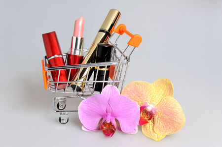 pushcart: Makeup in pushcart with orchid flowers on gray background