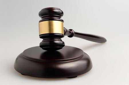 Hammer of judge on gray Stock Photo