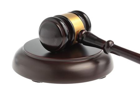 Hammer of judge closeup isolated on white background Stock Photo