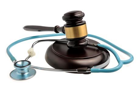 Stethoscope with judge gavel isolated on white background Stock Photo
