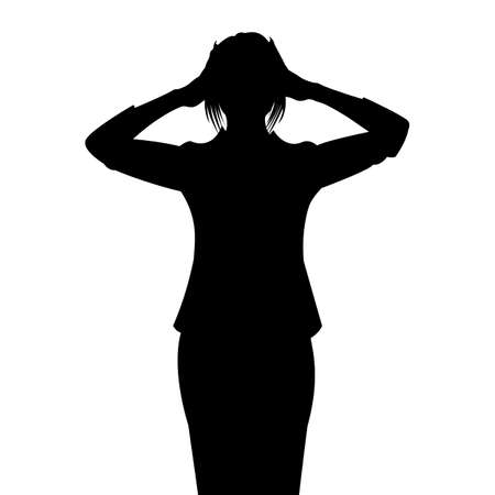woman headache: Vector Silhouette of a Woman with Hands on Head Illustration