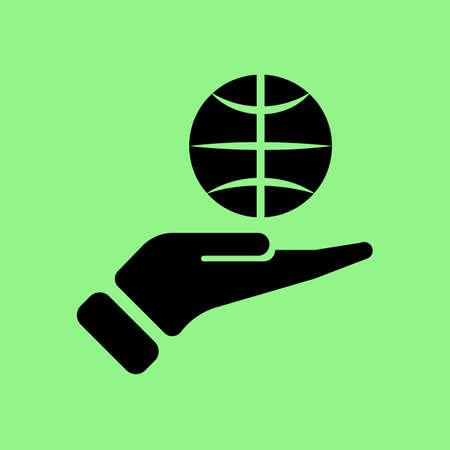 holding globe: hand holding globe icon vector