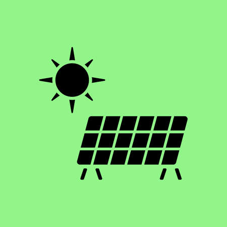 flat panel: Solar energy panel icon. Flat web icon or sign isolated on green background. Collection modern trend concept design style vector illustration symbol