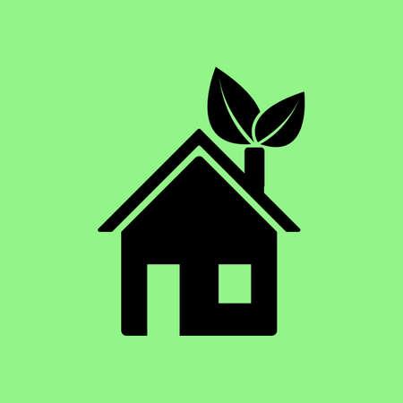 verde eco casa icona del vettore