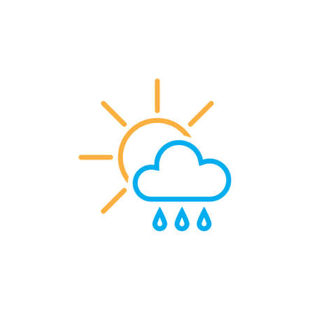 behind: sun behind the cloud with rain icon