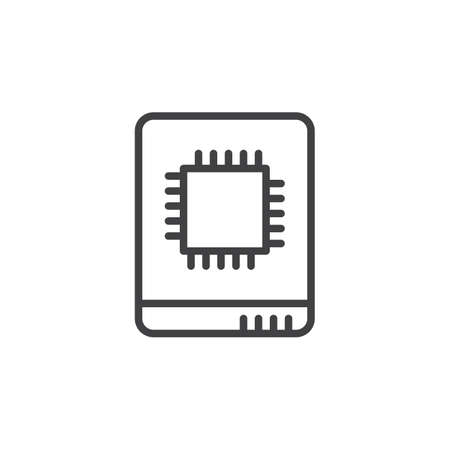 solid state drive: Solid state drive line icon, outline vector sign, linear style pictogram isolated on white. Illustration