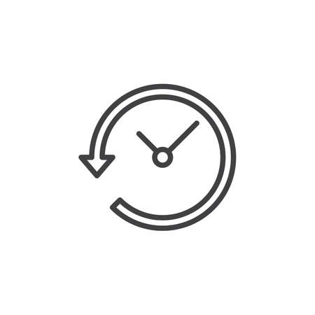 reverse: Clock with arrow around line icon, outline vector sign, linear style pictogram.