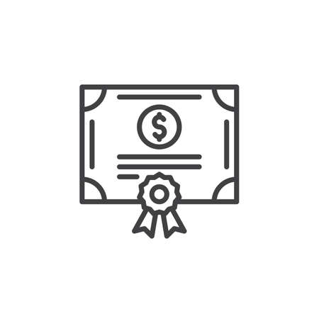 Stock share certificate line icon, outline vector sign, linear pictogram isolated on white. Bonds, securities symbol, logo illustration Logó